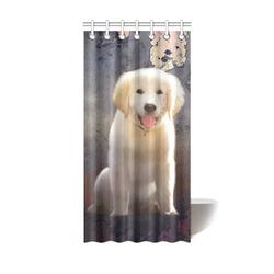 "A cute painting golden retriever puppy Shower Curtain 36""x72"""
