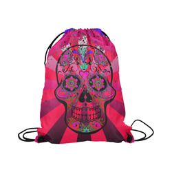 "psychedelic Pop Skull 317H by JamColors Large Drawstring Bag Model 1604 (Twin Sides)  16.5""(W) * 19.3""(H)"