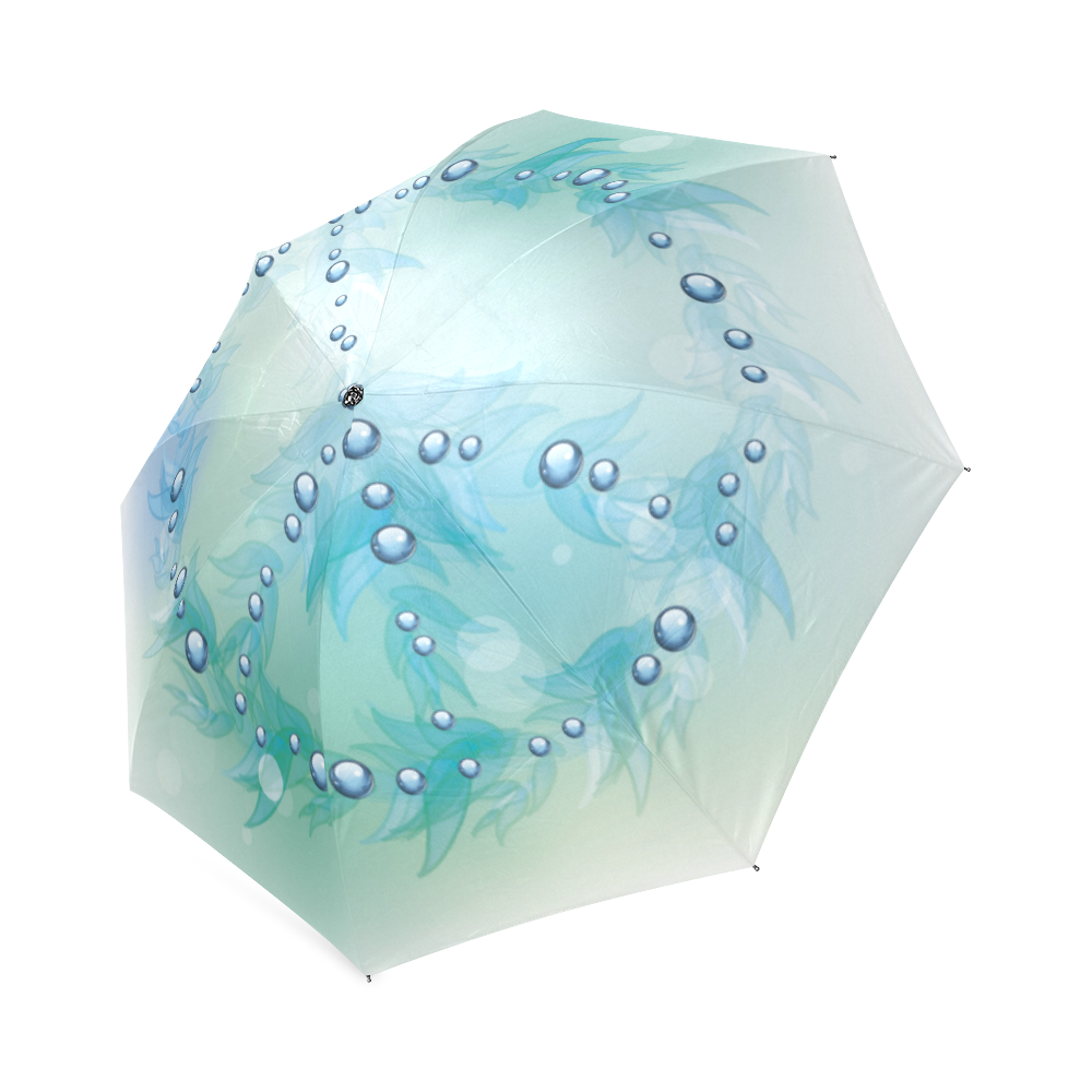 Beautiful Blue Green Peace Sign Foldable Umbrella (Model U01)