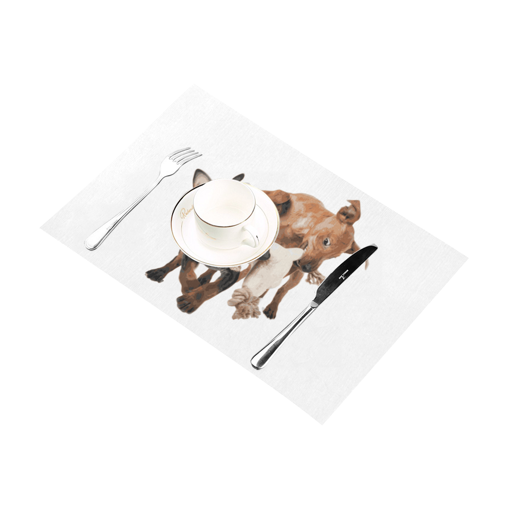Two Playing Dogs Placemat 12'' x 18'' (Four Pieces)