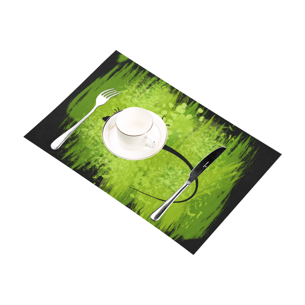 Green Lizard Shape Painting Placemat 12'' x 18'' (Two Pieces)