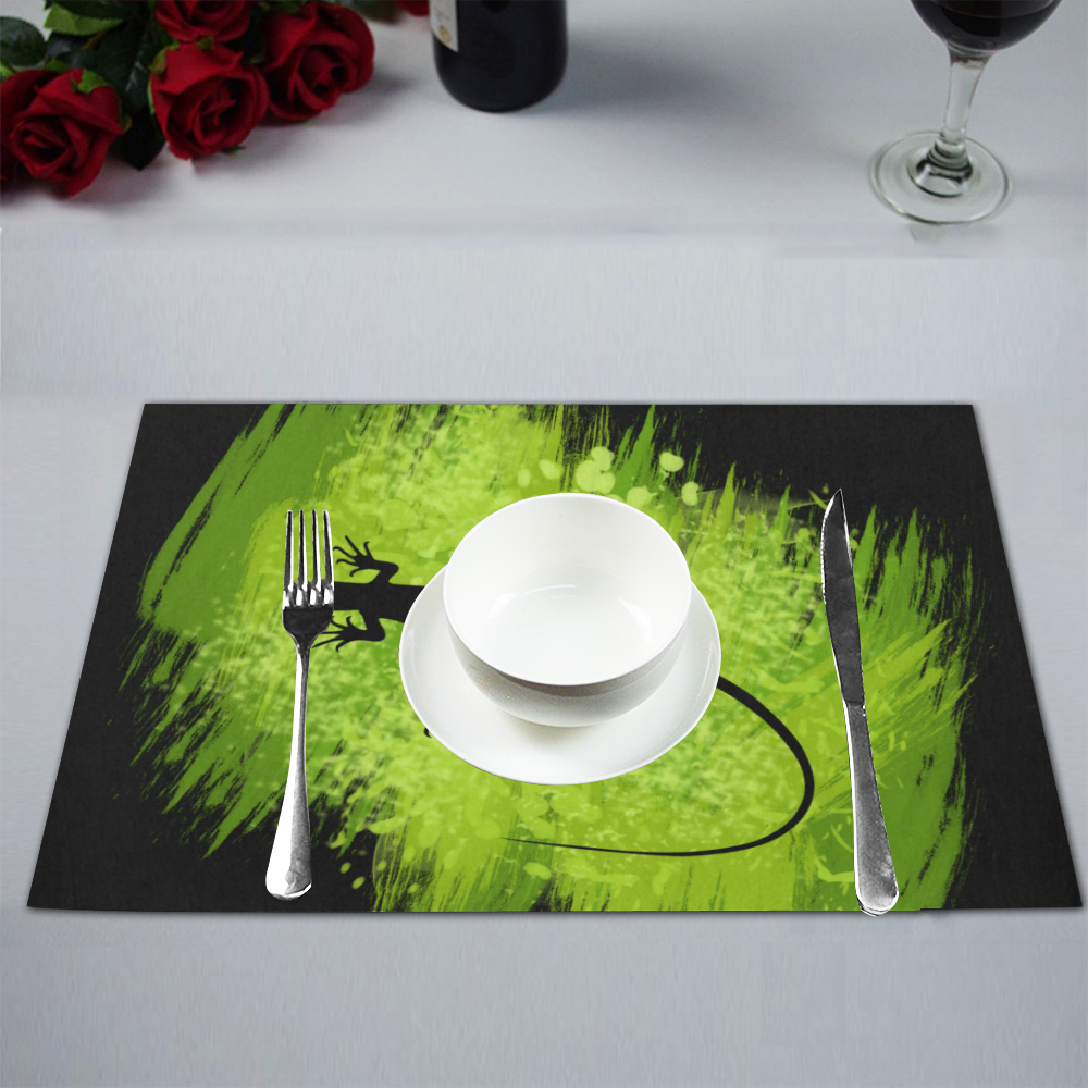 Green Lizard Shape Painting Placemat 12'' x 18'' (Four Pieces)