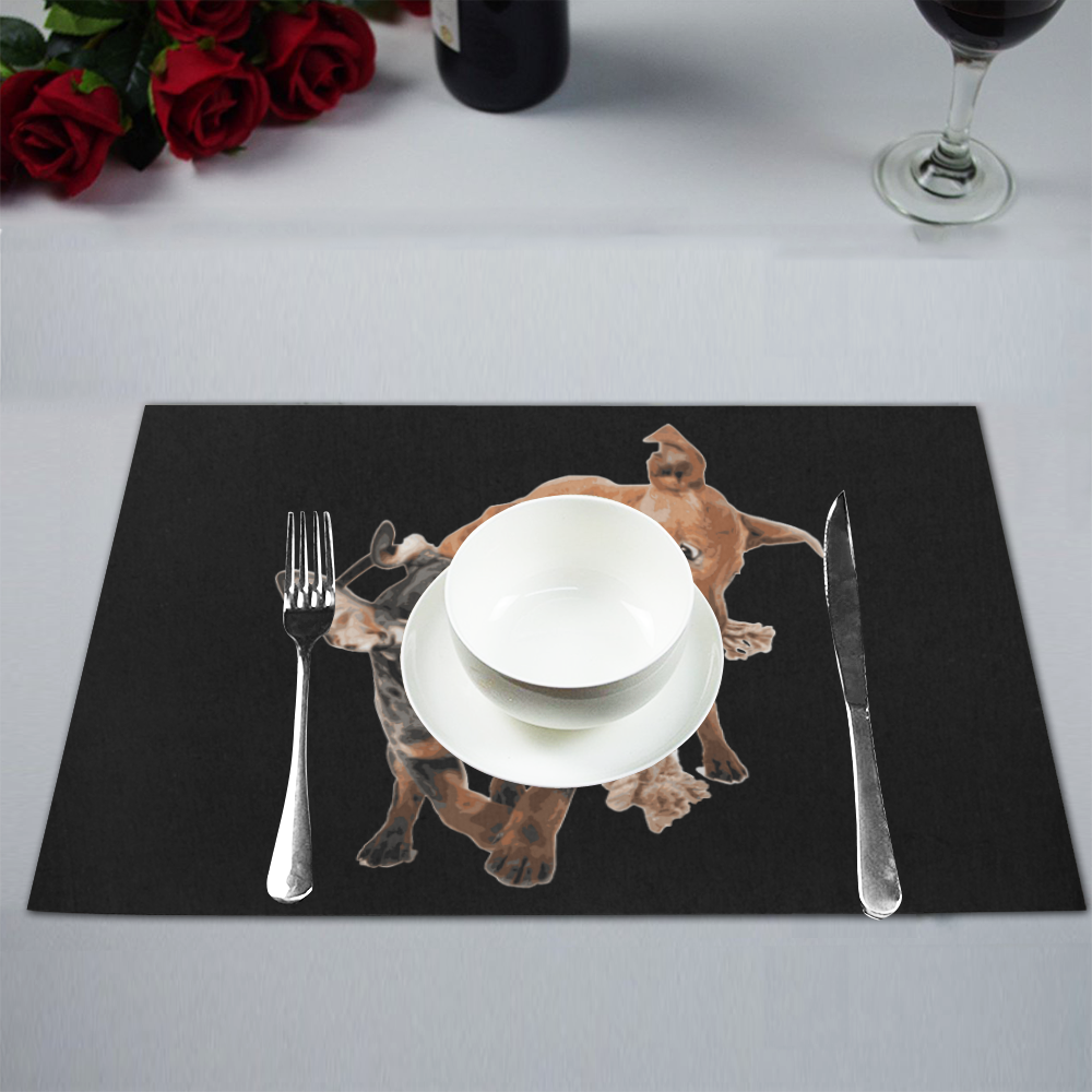 Two Playing Dogs Placemat 12'' x 18'' (Six Pieces)