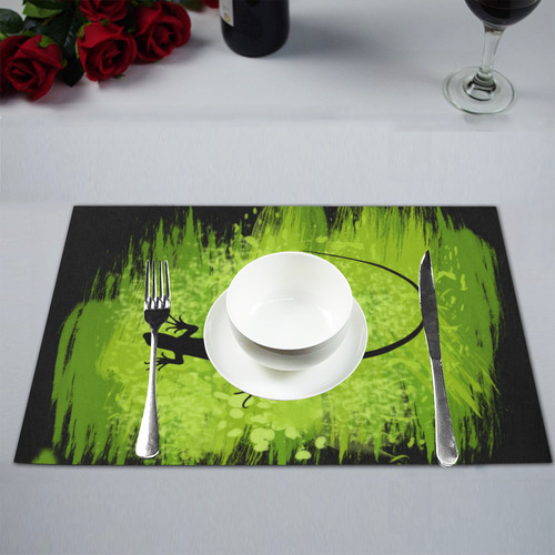 Green Lizard Shape Painting Placemat 12'' x 18'' (Six Pieces)