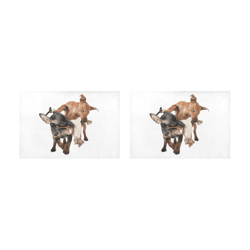 Two Playing Dogs Placemat 12'' x 18'' (Two Pieces)