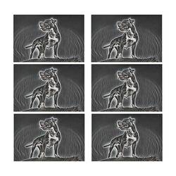 Steff Black and White Placemat 12'' x 18'' (Six Pieces)