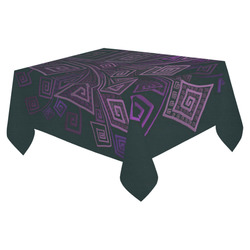 "Psychedelic 3D Square Spirals - purple Cotton Linen Tablecloth 52""x 70"""