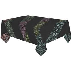 "Psychedelic 3D Rainbow Ornaments Cotton Linen Tablecloth 60""x120"""