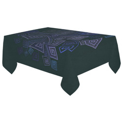 "Psychedelic 3D Square Spirals - blue and purple Cotton Linen Tablecloth 60""x 104"""