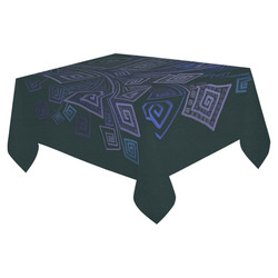 """Psychedelic 3D Square Spirals - blue and purple Cotton Linen Tablecloth 52""""x 70"""""""