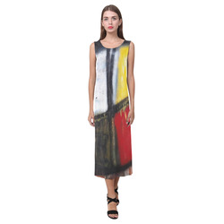 Medicine Wheel Graffiti Phaedra Sleeveless Open Fork Long Dress (Model D08)