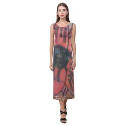 Poppy Graffiti Phaedra Sleeveless Open Fork Long Dress (Model D08)