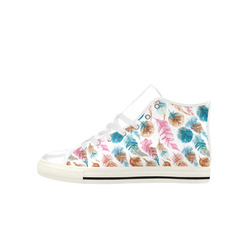 Colorful Boho Feathers Aquila High Top Microfiber Leather Women's Shoes (Model 027)