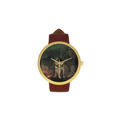 Amazing wolf in the night Women's Golden Leather Strap Watch(Model 212)