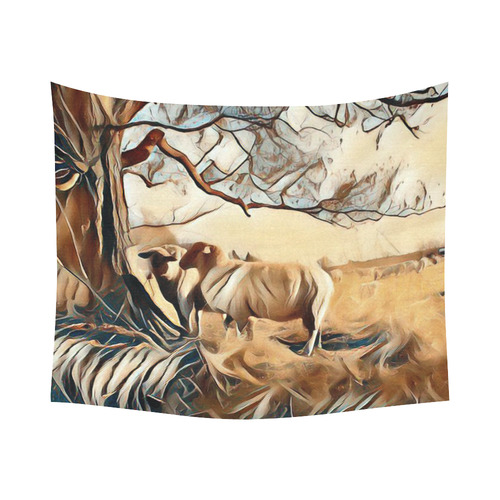 """Farmers Lovely World Cotton Linen Wall Tapestry 60""""x 51"""""""