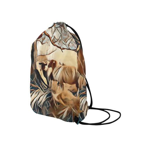 "Farmers Lovely World Medium Drawstring Bag Model 1604 (Twin Sides) 13.8""(W) * 18.1""(H)"