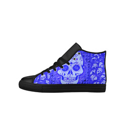 skull 317 blue Aquila High Top Microfiber Leather Women's Shoes (Model 027)