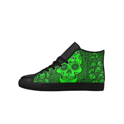 skull 317 green Aquila High Top Microfiber Leather Women's Shoes (Model 027)