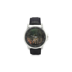 Amazing wolf in the night Unisex Stainless Steel Leather Strap Watch(Model 202)