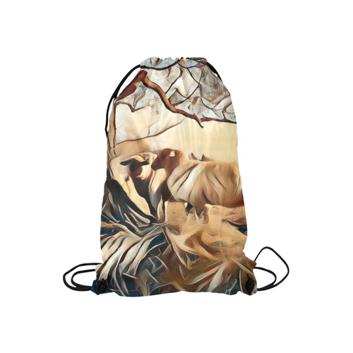 "Farmers Lovely World Small Drawstring Bag Model 1604 (Twin Sides) 11""(W) * 17.7""(H)"