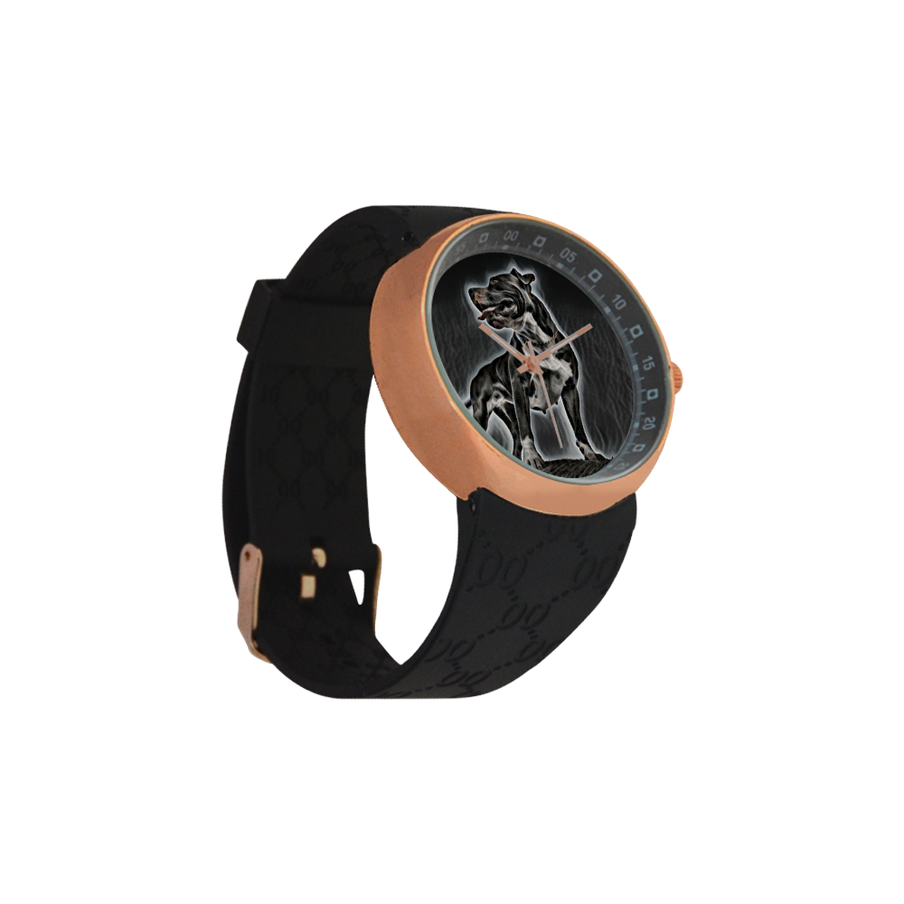 Steff Black and White Men's Rose Gold Resin Strap Watch(Model 308)