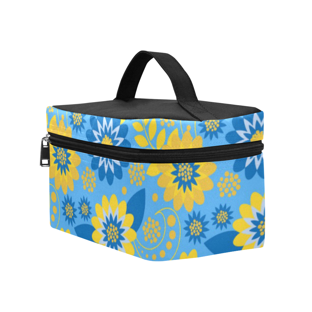 Yellow and Blue Floral Lunch Bag/Large (Model 1658)