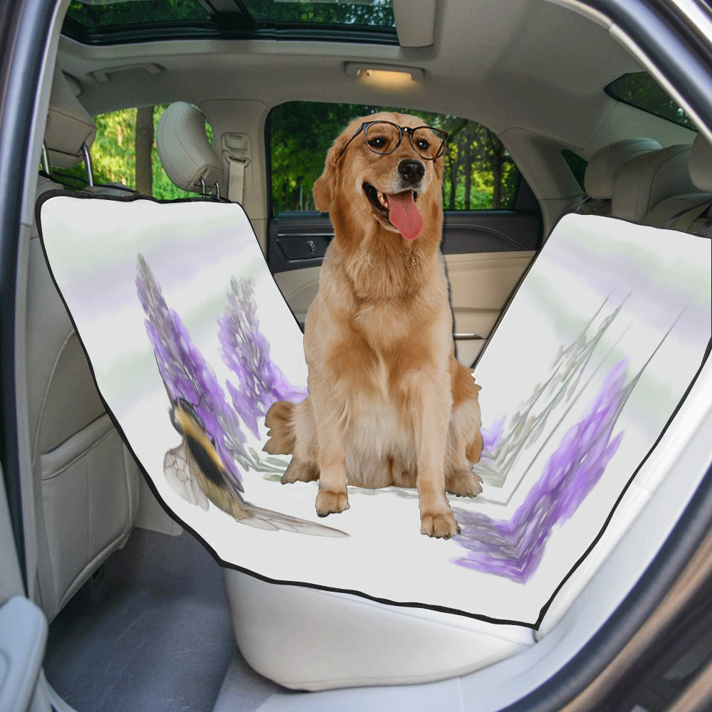 Bumblebee on purple flowers, floral watercolor New Pet Car Seat 55''x58''