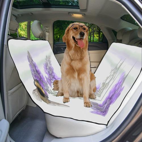 Bumblebee on purple flowers, floral watercolor Pet Car Seat 55''x58''