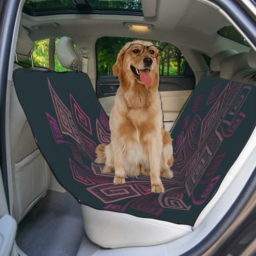 Psychedelic 3D Square Spirals - pink and orange Pet Car Seat 55''x58''