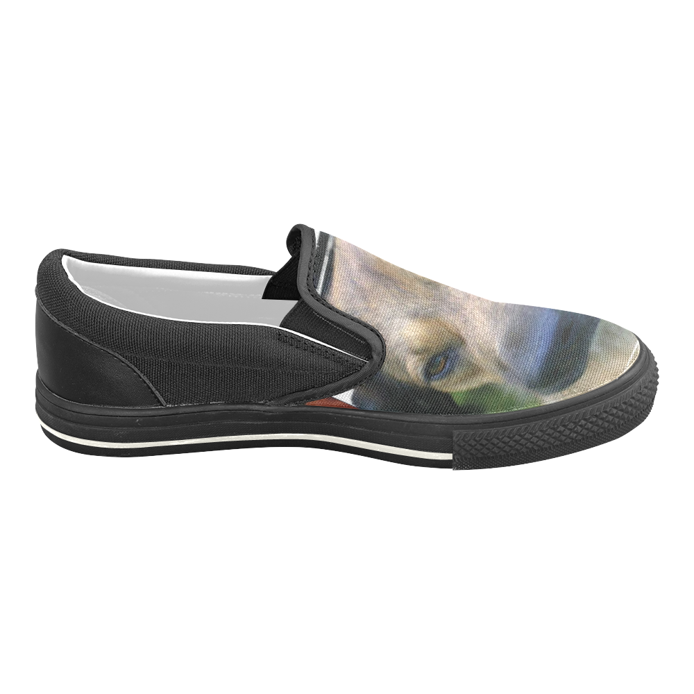 alruns wautzi1 Women's Unusual Slip-on Canvas Shoes (Model 019)