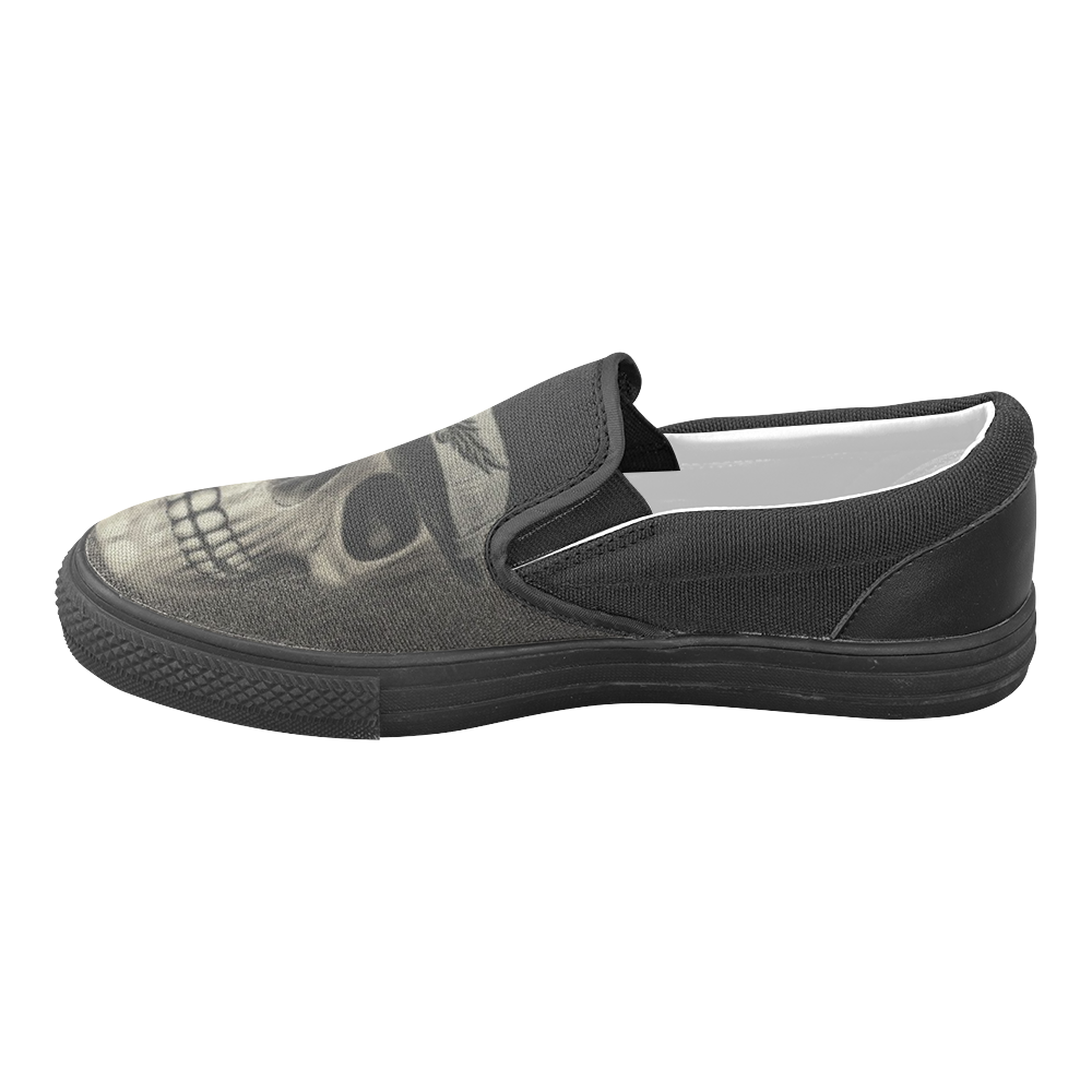 Charming Skull C by JamColors Women's Unusual Slip-on Canvas Shoes (Model 019)