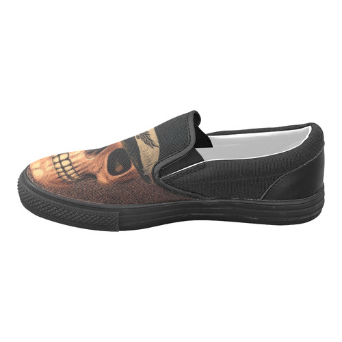 Charming Skull A by JamColors Women's Unusual Slip-on Canvas Shoes (Model 019)