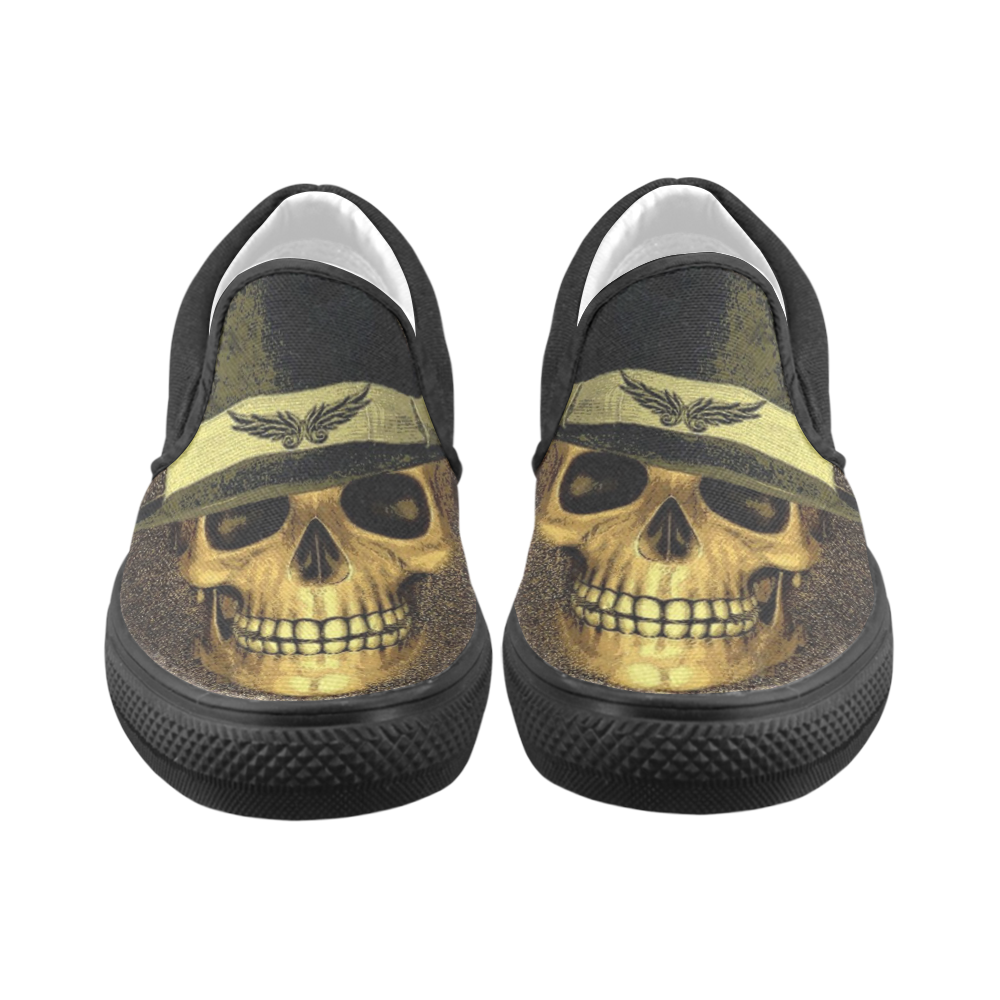 Charming Skull B by JamColors Women's Unusual Slip-on Canvas Shoes (Model 019)