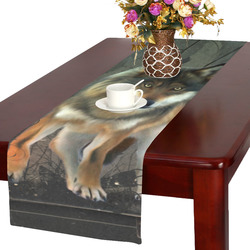 Amazing wolf in the night Table Runner 16x72 inch