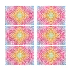 Rainbow Flowers Mandala I Placemat 12'' x 18'' (Six Pieces)