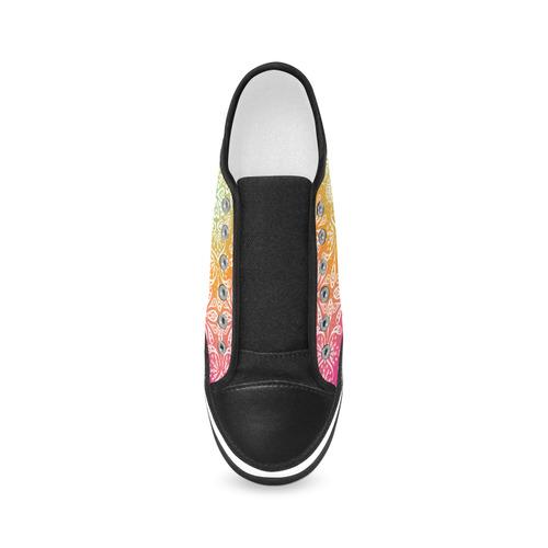 Rainbow Flowers Mandala I Women's Canvas Zipper Shoes/Large Size (Model 001)