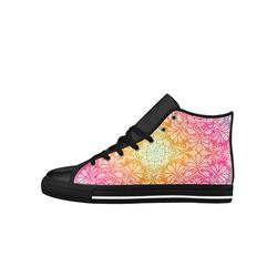 Rainbow Flowers Mandala I Aquila High Top Microfiber Leather Women's Shoes (Model 027)