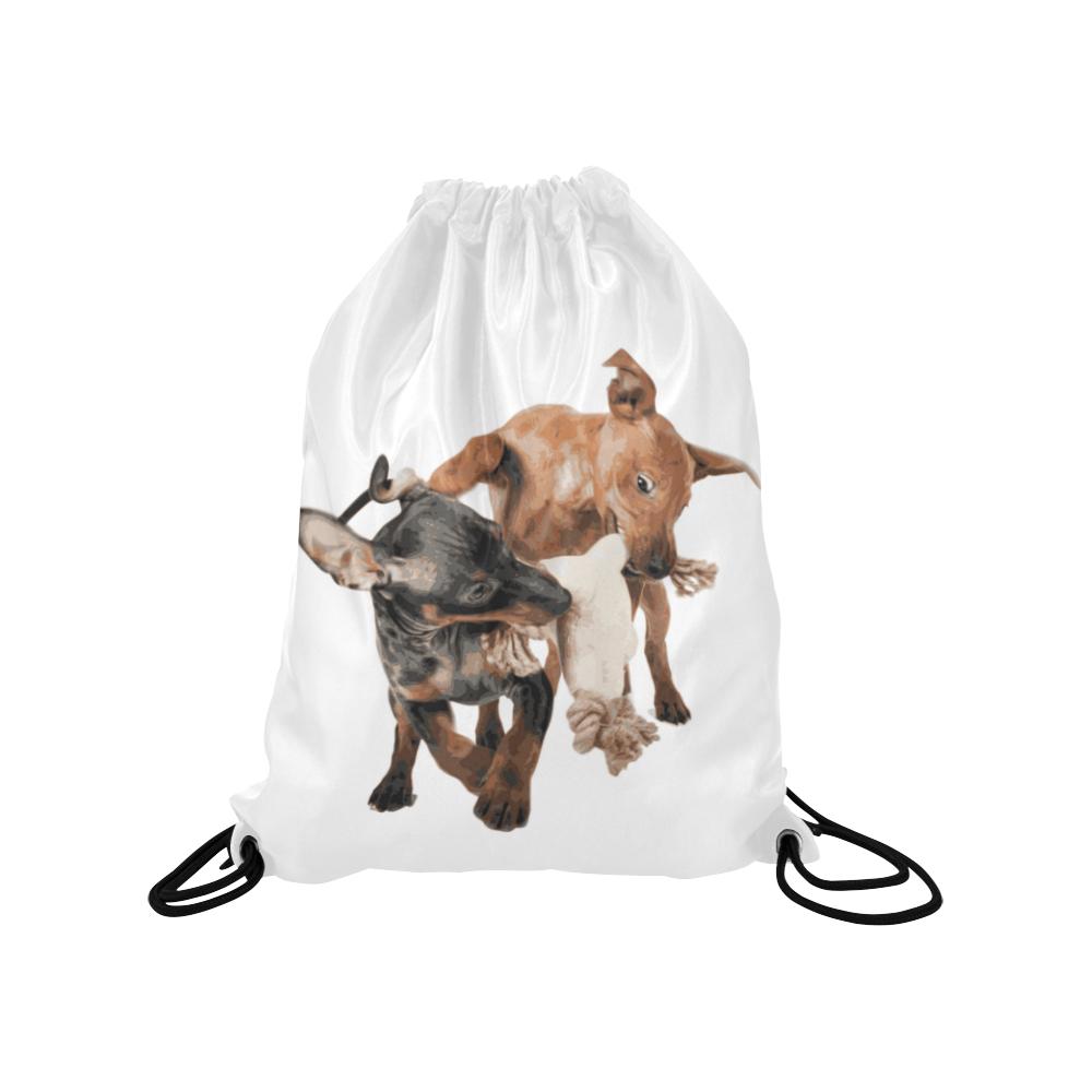 "Two Playing Dogs Medium Drawstring Bag Model 1604 (Twin Sides) 13.8""(W) * 18.1""(H)"