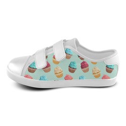 Cup Cakes Party Velcro Canvas Kid's Shoes (Model 008)