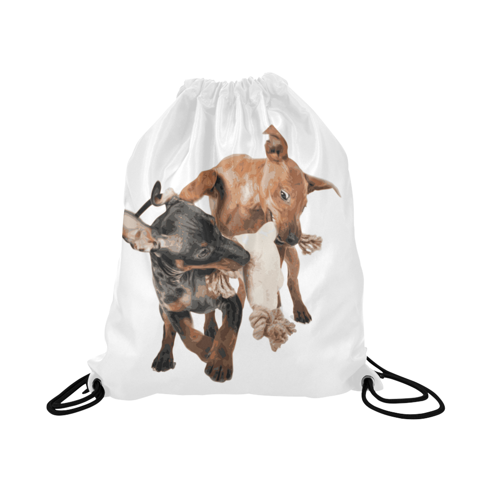 "Two Playing Dogs Large Drawstring Bag Model 1604 (Twin Sides)  16.5""(W) * 19.3""(H)"