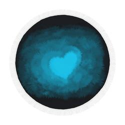 """Blue Fluffy Heart, Valentine Circular Beach Shawl 59""""x 59"""""""