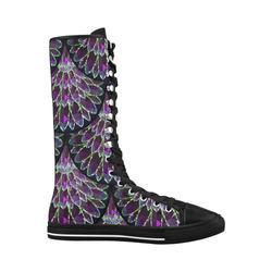 Mosaic flower, purple fish scale pattern Canvas Long Boots For Women Model 7013H