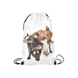 """Two Playing Dogs Small Drawstring Bag Model 1604 (Twin Sides) 11""""(W) * 17.7""""(H)"""