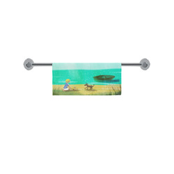 """boy by the sea with dog summer time boat ocean water art print illustration by agnes laczo Square Towel 13""""x13"""""""