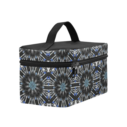Black and Blue Geometric Lunch Bag/Large (Model 1658)
