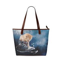 Cute painted red kitten plays in sneakers Shoulder Tote Bag (Model 1646)
