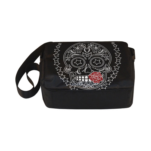 Sugar Skull Red Rose Classic Cross-body Nylon Bags (Model 1632)