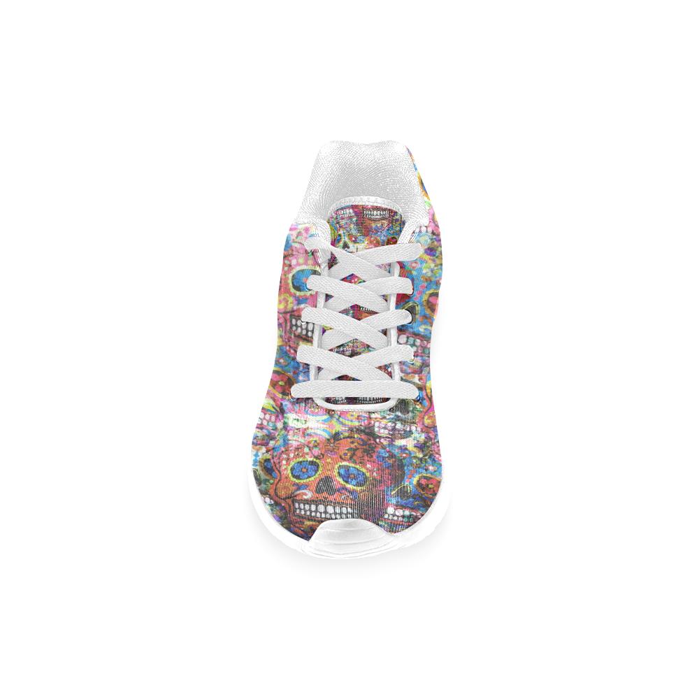 Colorfully Flower Power Skull Grunge Pattern Men's Running Shoes (Model 020)