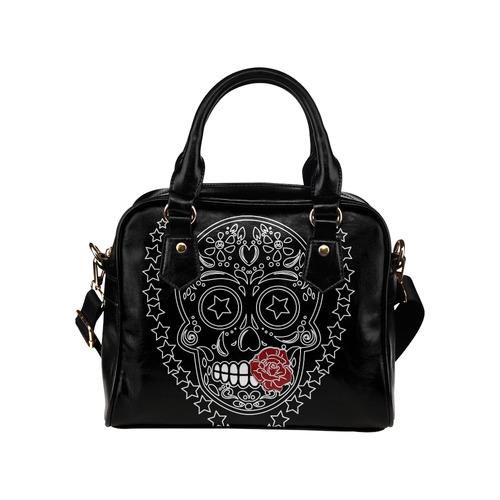 Sugar Skull Red Rose Shoulder Handbag (Model 1634)
