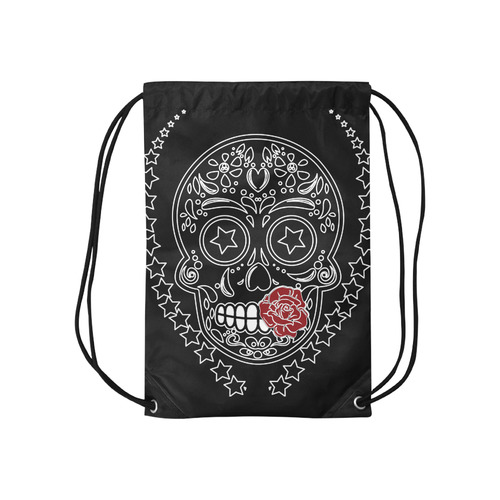 "Sugar Skull Red Rose Small Drawstring Bag Model 1604 (Twin Sides) 11""(W) * 17.7""(H)"